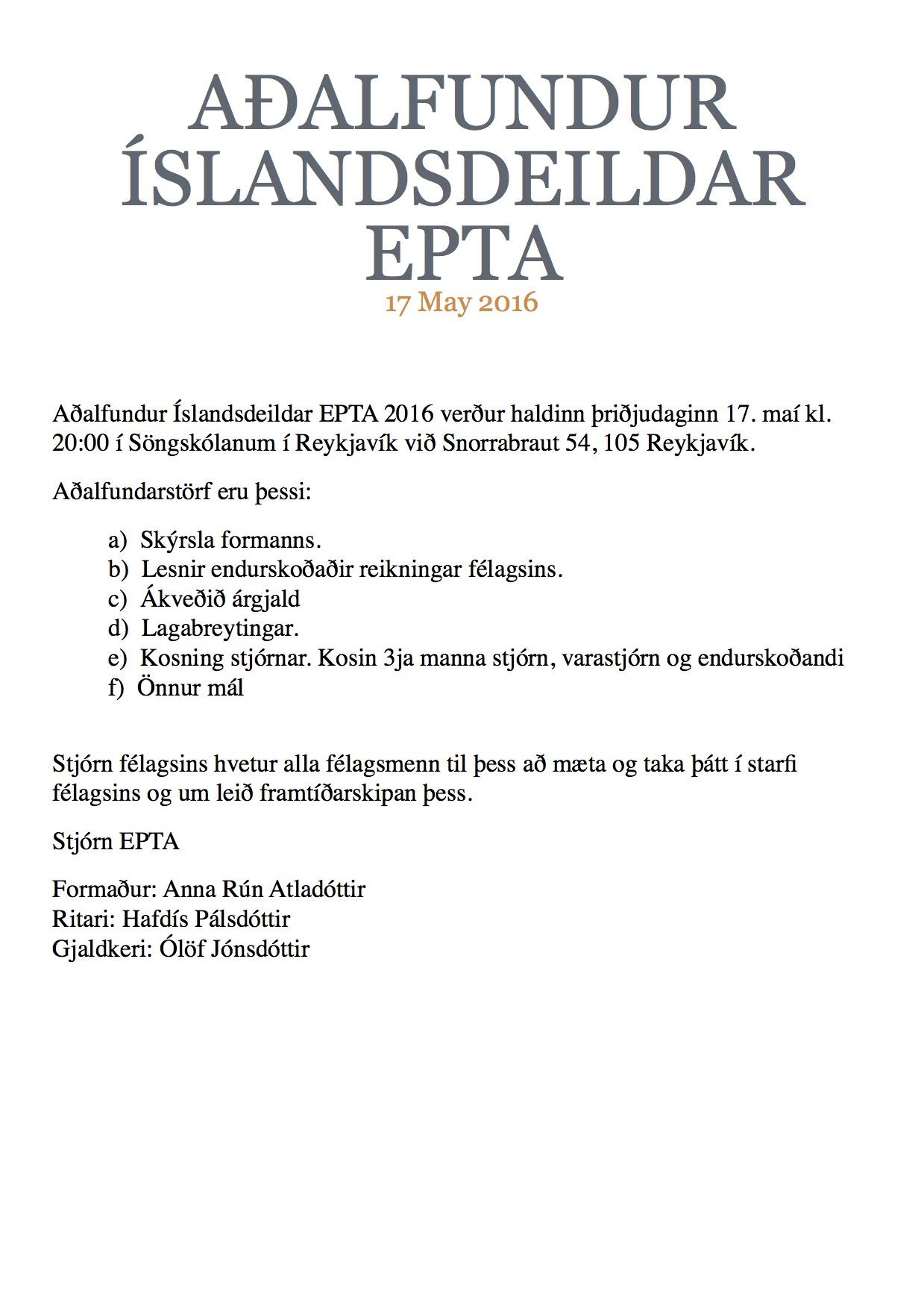 Aðalfundur EPTA - Fundarboð