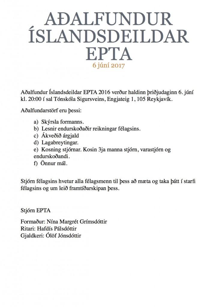 Fundarboð - Aðalfundur EPTA 2017